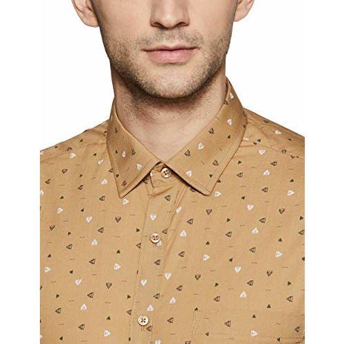 Diverse Men's Printed Slim fit Formal Shirt (DCMFF02SC11L05-876_Khaki 39)