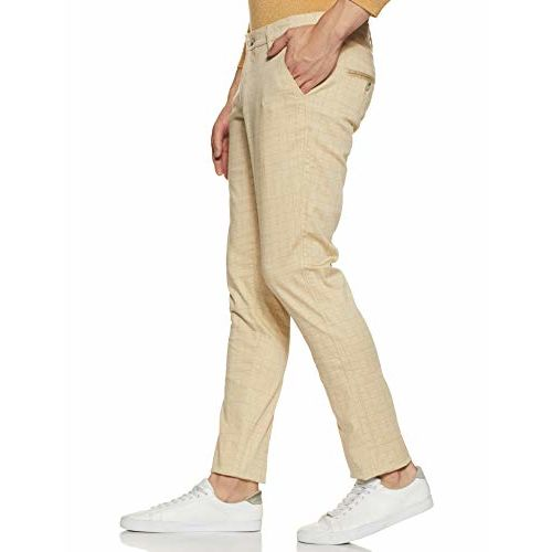 Diverse Men's Slim Fit Casual Trousers (DCMCT45SC19L32-1103A_Beige_38W x 33L)
