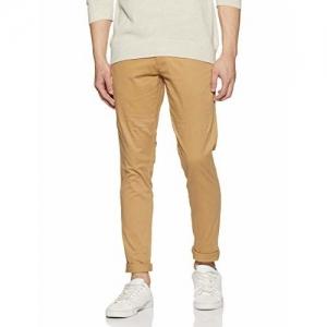 Diverse Men's Slim Fit Casual Trousers (DCMCT33SC17L32-1087F_Khaki_34W x 33L)