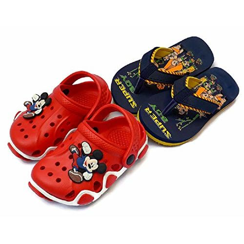 NEW AMERICAN Unisex-Baby's Red Clog & Blue Clog with Slipper - 13 Kids UK