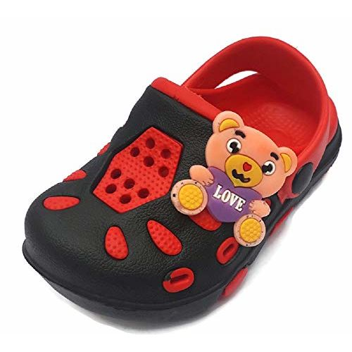 NEW AMERICAN Kids Attractive Clogs (Black/RED, 2_Years)