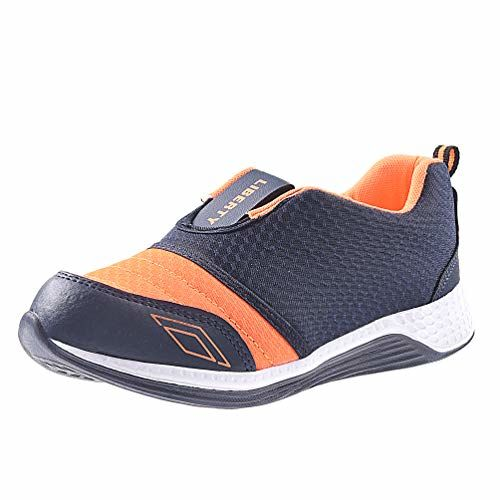 Liberty Boy's Blue and Orange Mesh Sports Shoes -5 IND/UK/Age 11-12 Years/24 Cm