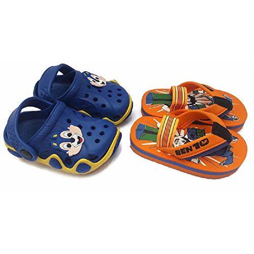 NEW AMERICAN Baby Boy's Blue & Orange Fashion Sandal with Slipper - 2.5 Years
