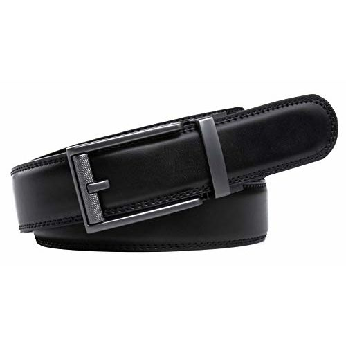 Contacts Mens Genuine Leather Auto lock Buckle Belt (Free Size)