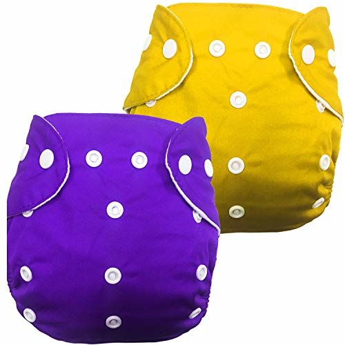 Babymoon Washable Baby Diaper Premium Cloth Diaper Reusable, Adjustable Size, Waterproof, Pocket Cloth Diaper Nappie (Without Insert) (Pack of 2, Orchid Purple