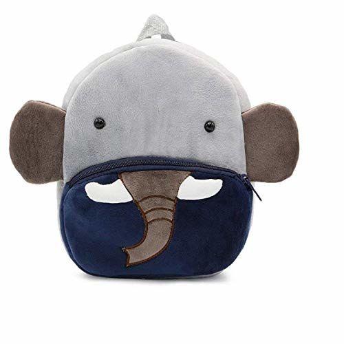 Frantic Premium Quality Soft Velvet Backpack Bags for 2 to 5 Years Kids for School/Nursery/Picnic/Carry/Travelling Bag (Blue Elephant)