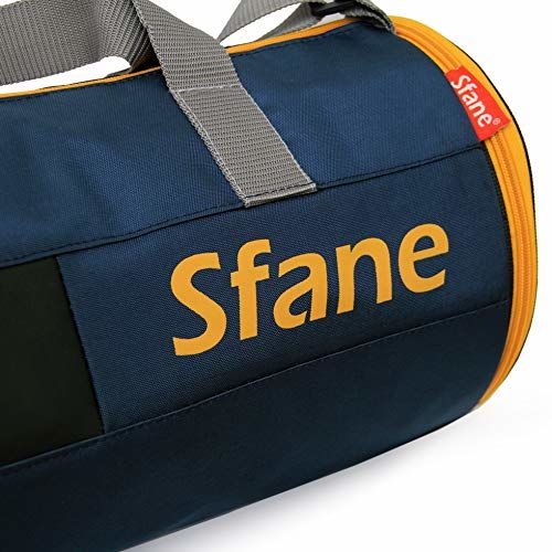SFANE Polyester Blue and Yellow Shoulder Shoe Compartment Duffel Spark Gym Bag for Men and Women