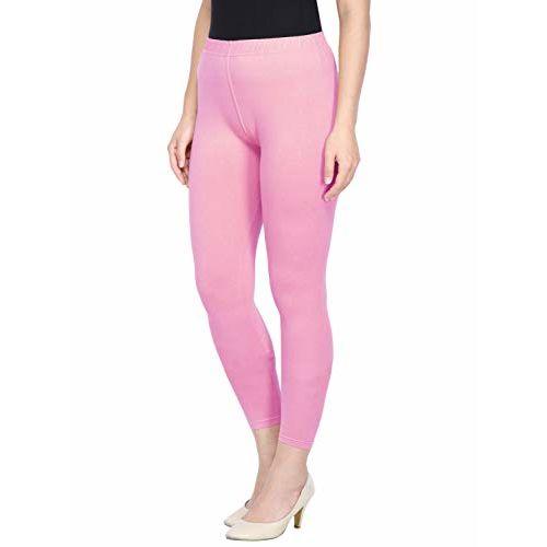 Saundarya Women's Ankle Length Legging Soft Cotton Lycra Fabric Slim Fit (Baby Pink, S)