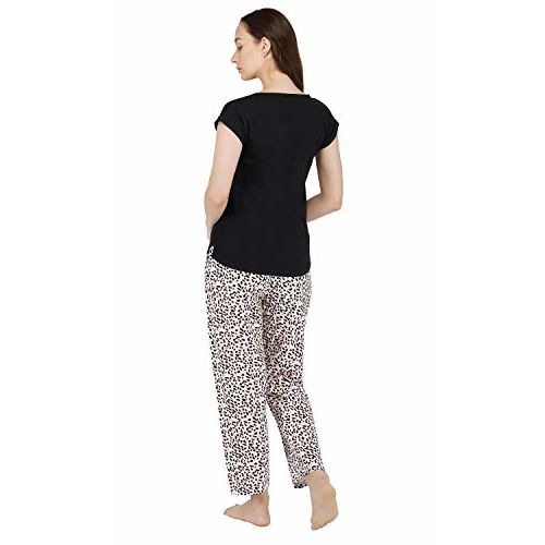 Artemis Women's Cotton Small Heart Print Top and All Over Animal Print Pajama(XS) Black