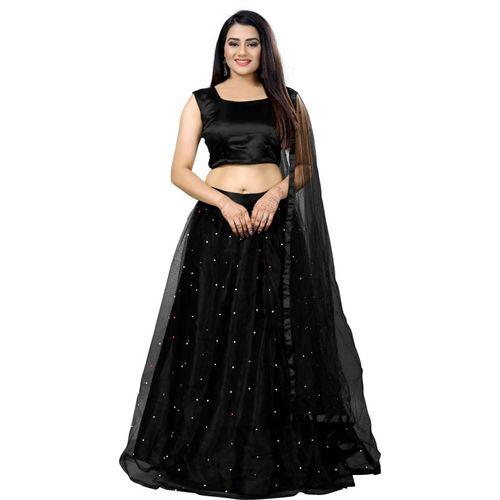 RITALIYA Embellished Semi Stitched Lehenga Choli(Black)