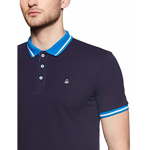 United Colors of Benetton Men's Plain Regular fit Polo (19P3089J1111I_B15_S_Navy Blue