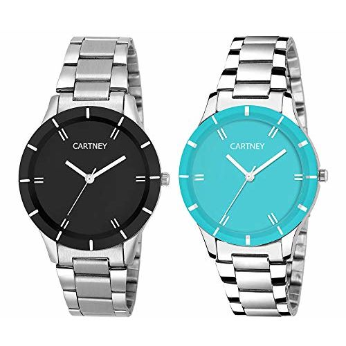 CARTNEY Analogue Girls' Watch (Black & Blue Dial Silver Colored Strap) (Pack of 2)