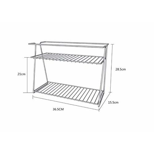EverEx Stainless Steel Spice 2-Tier Trolley Container Organizer Organiser/Basket for Boxes Utensils Dishes Plates for Home (Multipurpose Kitchen Storage Shelf