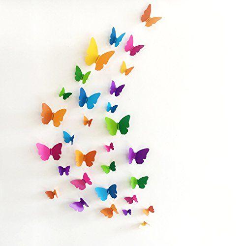 JAAMSO ROYALS 'Multicolor 3D Butterflies' Wall Sticker 1 Combo of 19 Piece (PVC Vinyl, 21 cm x 29.7 cm, 3D Stickers), H1-007
