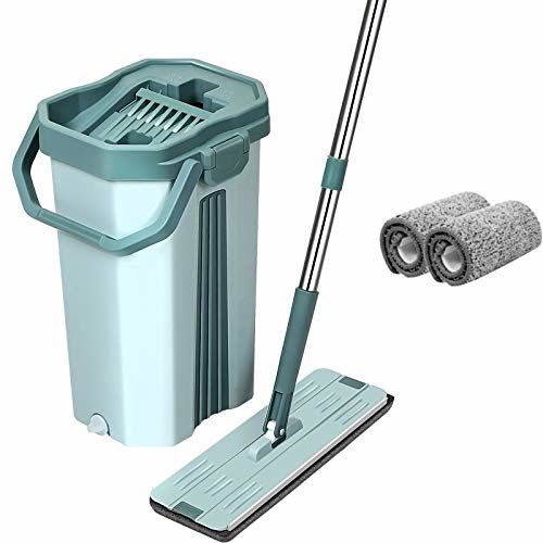 U.P.C. Pureatic Upgraded Hands-Free Squeeze Flat Spin 360 Flexible 38X12.5 cm Head Mop with Bucket with 2 Super-Absorbent Microfiber Pads and 59.8'' Extended