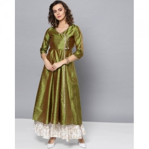 STREET9 Green Abstract Flared Anarkali Kurti