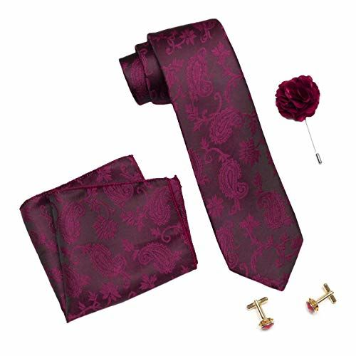 Axlon Men's Micro Polyester Necktie Set with Pocket Square, Lapel Pin and Cufflinks (Burgundy, Free Size)