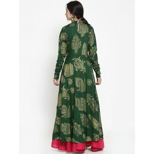 GET GLAMR flared foil print long sleeves kurta