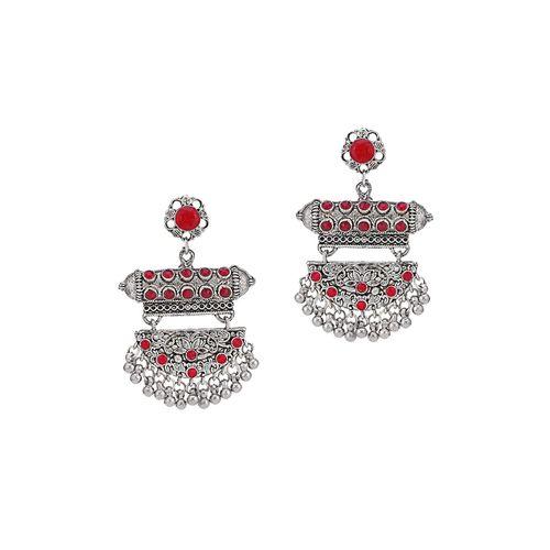 Sukkhi red brass drop earring
