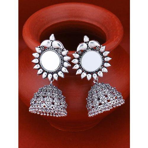 Sukkhi silver brass jhumka earring