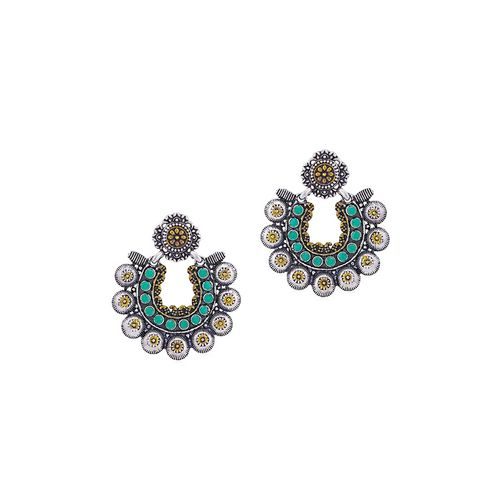 Sukkhi green brass chandballi earring