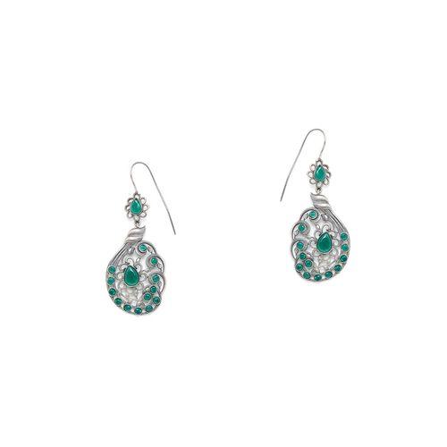 Zerokaata Exclusive green oxidized drop earring