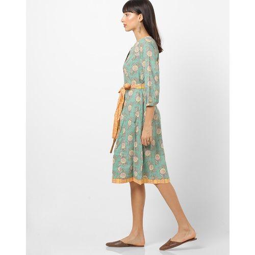 Global Desi Floral Print A-line Dress with Belt