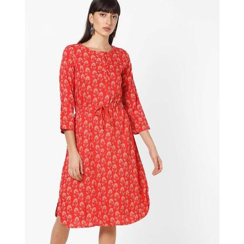 Global Desi Floral Print Dress with Cinched Waist