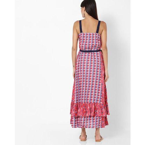 Global Desi Printed A-line Maxi Dress with Belt