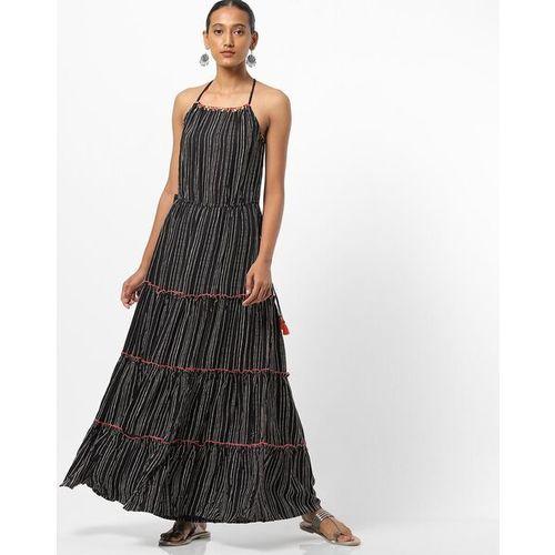 Global Desi Striped Strappy Tiered Dress