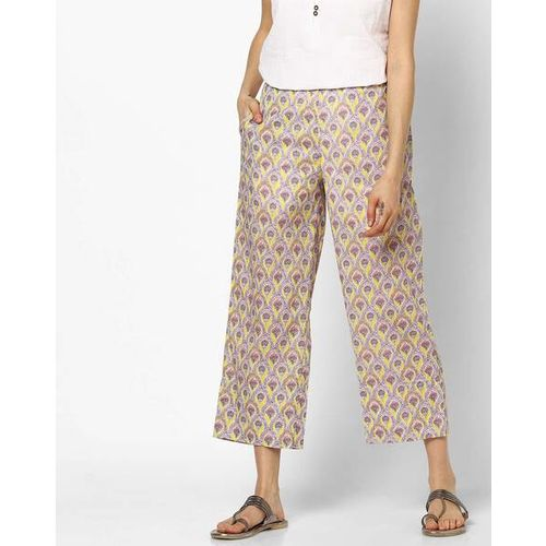 Global Desi Floral Print Palazzos with Insert Pockets