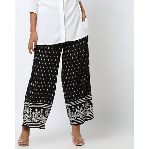 Global Desi Floral Print Palazzo Pants with Insert Pockets
