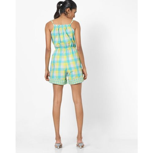 Global Desi Strappy Checked Playsuit with Tie-Up