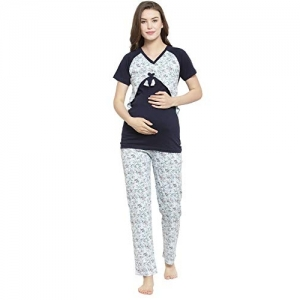 Claura Women Maternity Night Dress for Feeding in Cotton (Pack of 2pc 1Top,1Lower) (Medium) Blue