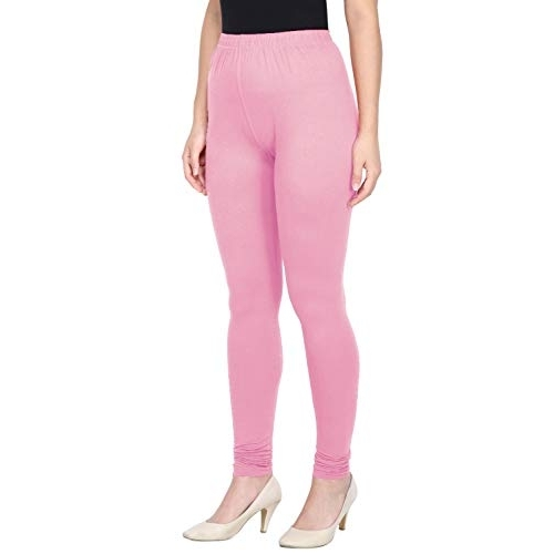 Saundarya Pink Cotton Solid Churidar Slim Fit Leggings