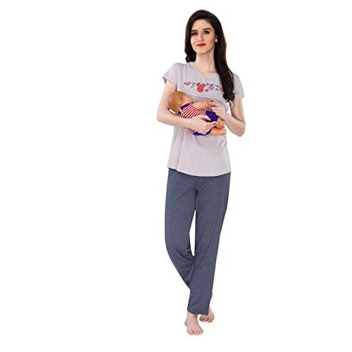 AV2 Women Cotton Feeding Top & Pyjama Night Suit Set