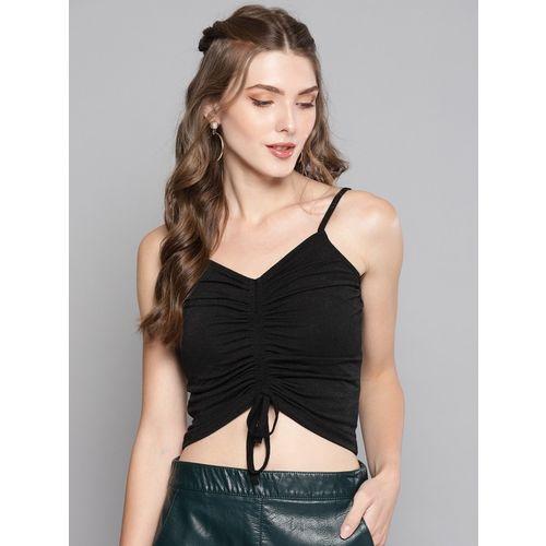 Veni Vidi Vici Casual No Sleeve Solid Women Black Top