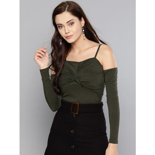 Veni Vidi Vici Casual Cold Shoulder Solid Women Dark Green Top