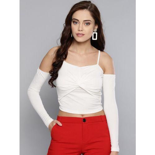 Veni Vidi Vici Casual Cold Shoulder Solid Women White Top