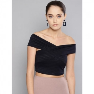 Veni Vidi Vici Casual Regular Sleeve Solid Women Dark Blue Top