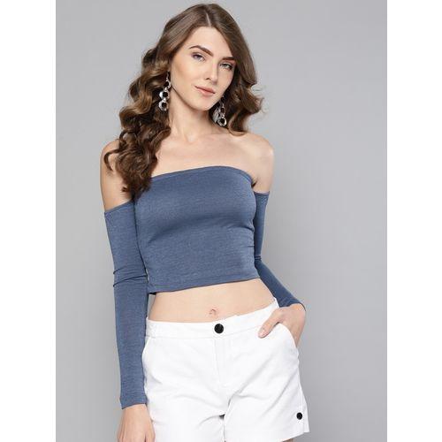 Veni Vidi Vici Casual Regular Sleeve Self Design Women Light Blue, Blue Top