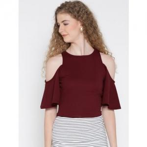 Veni Vidi Vici Casual Half Sleeve, Short Sleeve, Cap Sleeve Self Design, Printed, Solid Women Red, Maroon Top