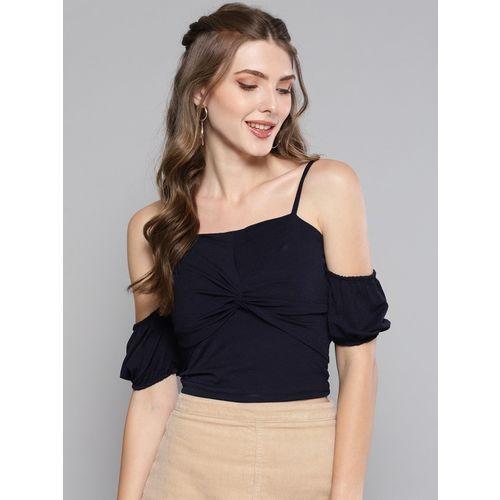 Veni Vidi Vici Casual Cold Shoulder Solid Women Blue Top