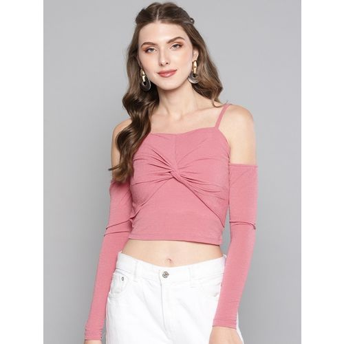 Veni Vidi Vici Casual Cold Shoulder Solid Women Pink Top