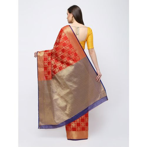 Mahalaxmi Textiles zari work kanjivaram saree with blouse