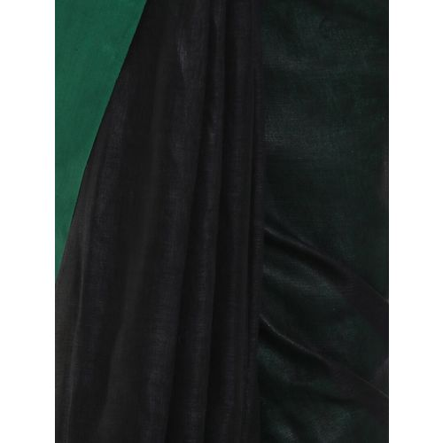 Black orange solid handloom saree with blouse
