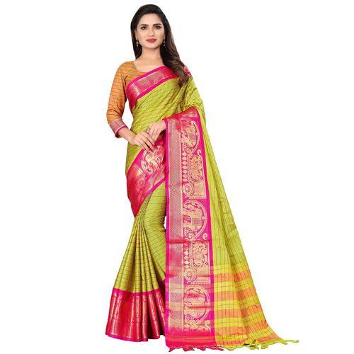 Dhanu Fashion Cotton silk Striped saree with blouse