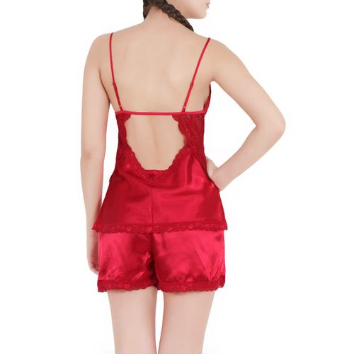 WILDFLAMES red satin short set nightwear set
