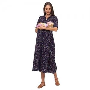 MomToBe Rayon Navy Blue  Printed  Maternity/Feeding Dress
