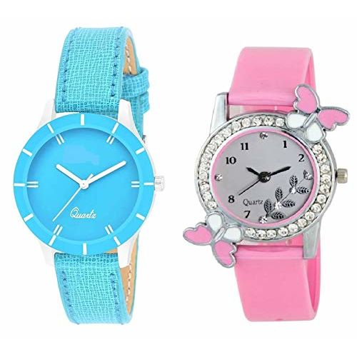 RPS FASHION WITH DEVICE OF R Analogue Girls' Watch (Sky Blue & Grey Dial Sky Blue & Pink Colored Strap) (Pack of 2)
